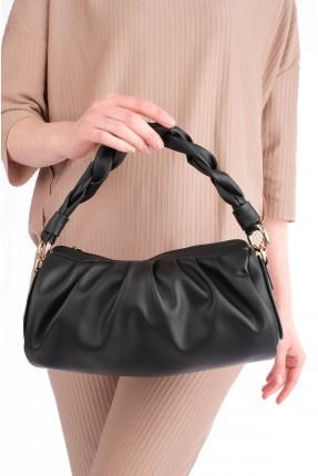 حقيبة يد نسائية مزينة بجدلة - اسود