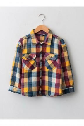 قميص اطفال ولادي كاروهات - اصفر