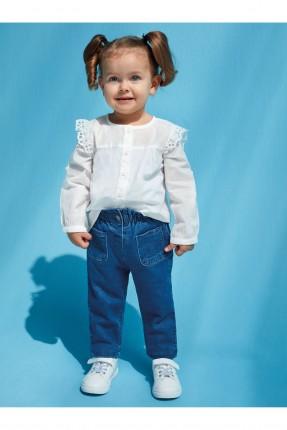 بنطال جينز بيبي بناتي بخصر مطاط