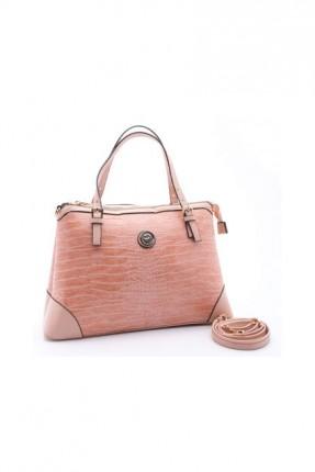 حقيبة يد نسائية مزينة بنقشة - زهري