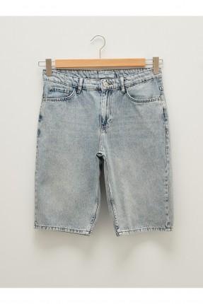 شورت رجالي جينز مزين بجيوب