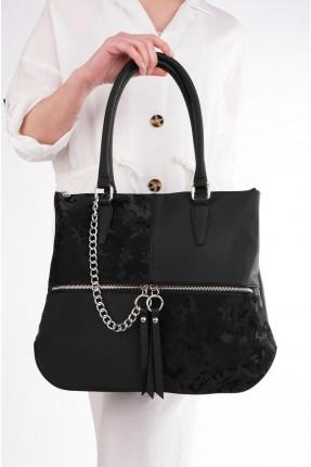 حقيبة يد نسائية مزينة بسلسلة معدنية - اسود