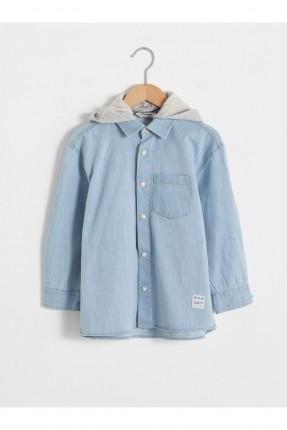 قميص اطفال ولادي جينز مزين بكابيشون