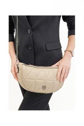 حقيبة يد نسائية مزينة بحبكة - بيج