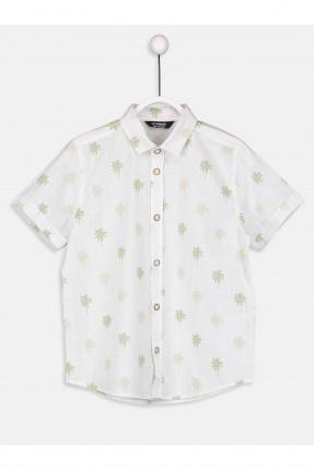 قميص اطفال ولادي مزين برسمة اشجار - ابيض