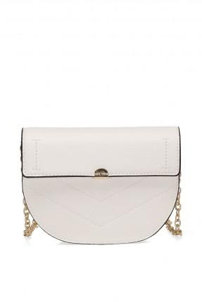 حقيبة يد نسائية مزينة بحبكة - ابيض