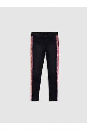 بنطال جينز اطفال بناتي سليم بخطوط ملونة على الجوانب