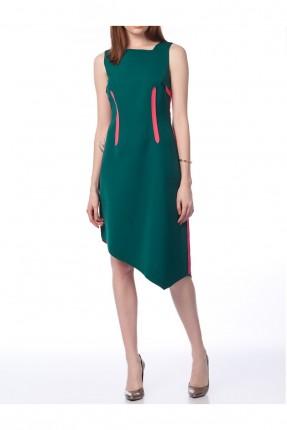 فستان نسائي مزين بخطوط مغايرة اللون - اخضر