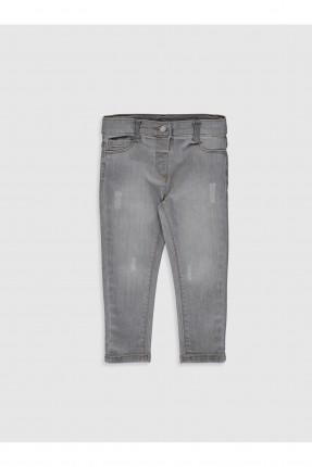 بنطال جينز بيبي بناتي بكحتة - رمادي
