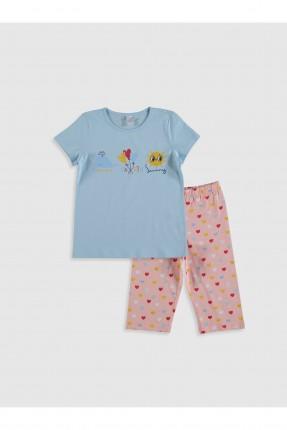 بيجاما اطفال بناتي مزينة برسومات - ازرق