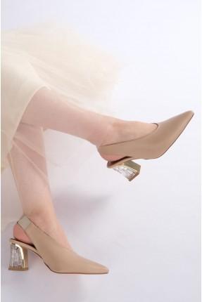 حذاء نسائي مفتوح من الخلف - بيج