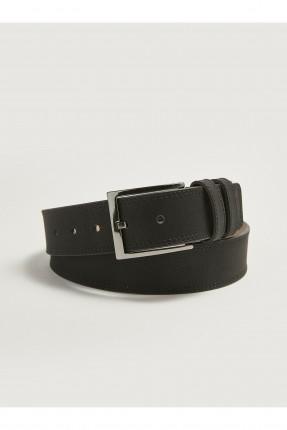 حزام رجالي سادة اللون - اسود