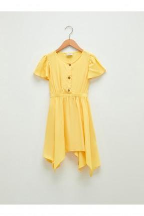 فستان اطفال بناتي مزين بازرار - اصفر