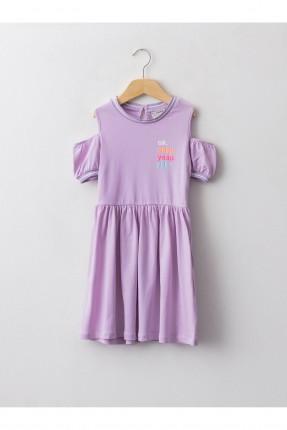 فستان اطفال بناتي باكمام منخفضة - بنفسجي