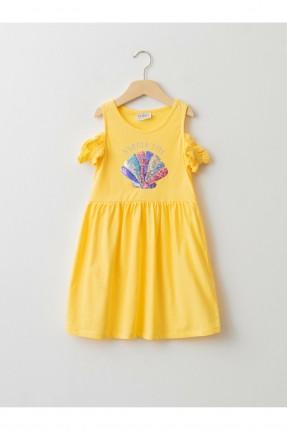 فستان اطفال بناتي مزين بترتر لامع ملون - اصفر