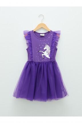 فستان اطفال بناتي بطبعة يونيكورن - بنفسجي