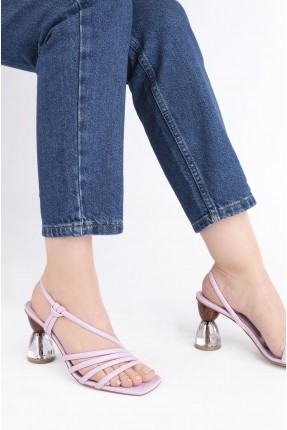 حذاء نسائي بكعب شفاف - بنفسجي