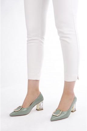 حذاء نسائي بكعب شفاف - اخضر