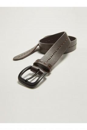 حزام رجالي بتفاصيل حبكة تطريز - بني