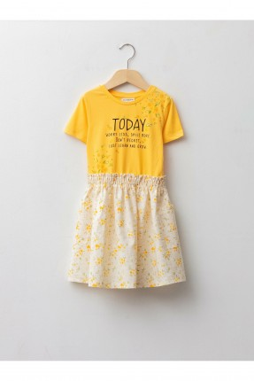 فستان اطفال بناتي نصف كم - اصفر
