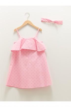 فستان اطفال بناتي منقط - زهري