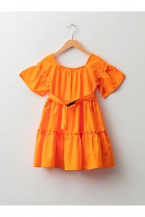 فستان اطفال بناتي نصف كم - برتقالي