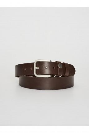 حزام رجالي جلد ببكلة معدنية - بني
