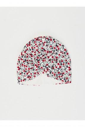 قبعة بيبي بناتي مزهرة - ابيض