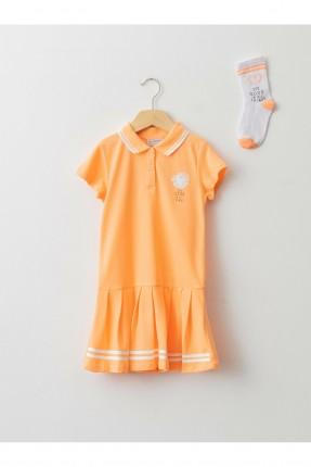 فستان مع جوارب اطفال بناتي - برتقالي