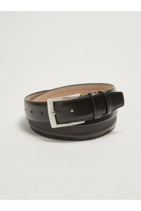 حزام رجالي ببكلة معدنية - اسود