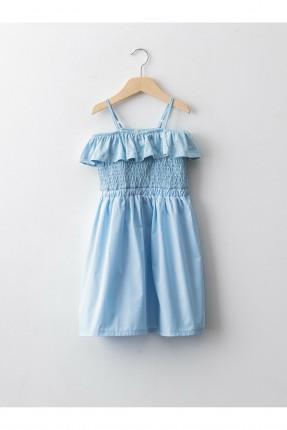 فستان اطفال بناتي بشيالات رفيعة - ازرق