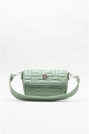 حقيبة يد نسائية بتفاصيل حبكة تطريز - اخضر