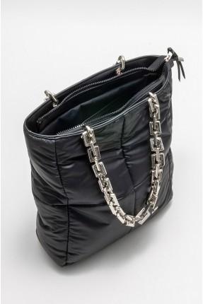 حقيبة يد نسائية نفخ سادة اللون - اسود