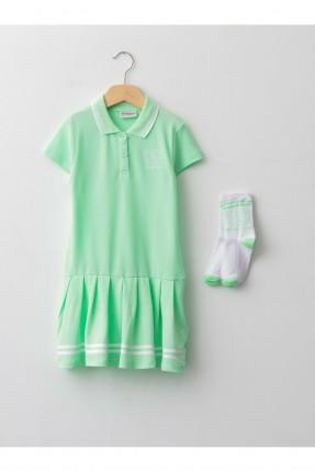 فستان مع جوارب اطفال بناتي سادة - اخضر