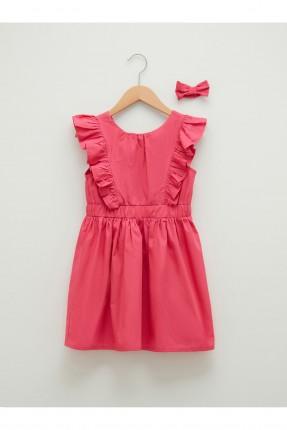 فستان اطفال بناتي مزين بكشكشة - فوشيا