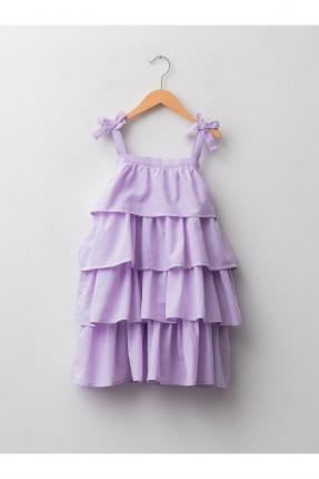 فستان اطفال بناتي موديل طبقات - بنفسجي