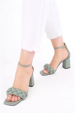 حذاء نسائي بكعب عريض - اخضر