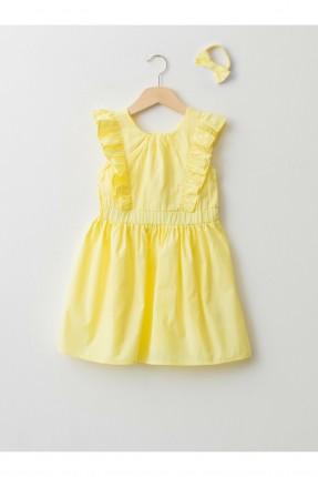 فستان اطفال بناتي بكشكشة - اصفر
