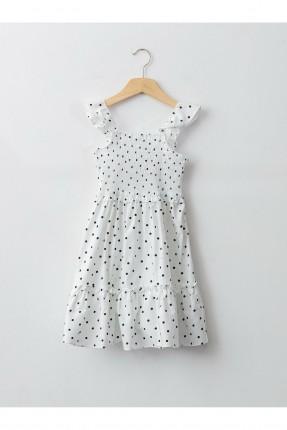 فستان اطفال بناتي منقط - ابيض