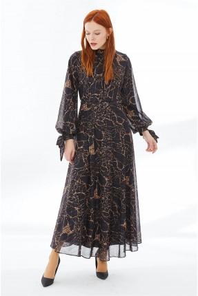 فستان نسائي رسمي مزين بربطة عند الاكمام - اسود
