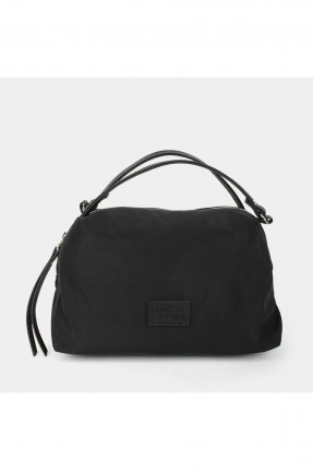 حقيبة يد نسائية سادة اللون جلد - اسود