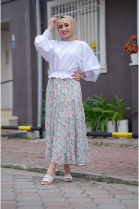 تنورة طويلة موردة
