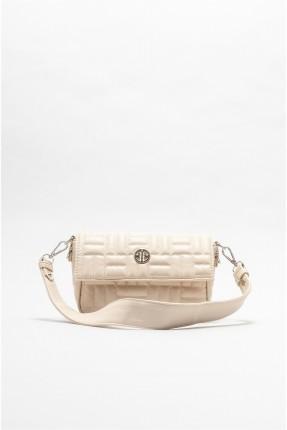 حقيبة يد نسائية بتفاصيل حبكة تطريز - بيج