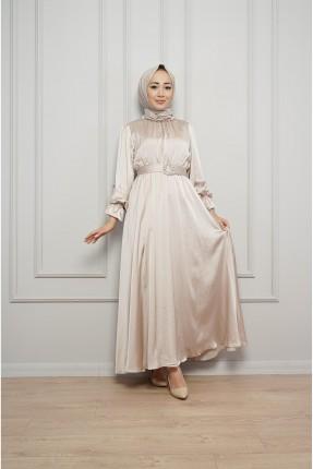 فستان نسائي رسمي مزموم الاكمام - بيج