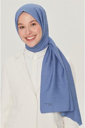 حجاب تركي مزين باسم الماركة من الاسفل - ازرق