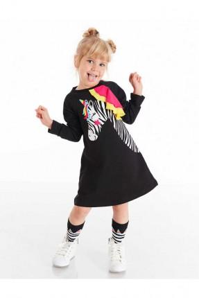 فستان اطفال بناتي مزين بطبعة زيبرا