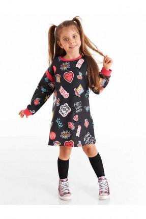 فستان اطفال بناتي مزين برسوم ملونة
