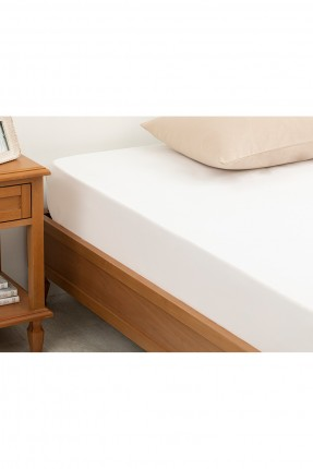 مفرش سرير قطني مزدوج مطاطي سادة 160 × 200 سم أبيض
