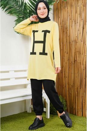 بيجاما رياضية نسائية مزينة بطبعة H - اصفر
