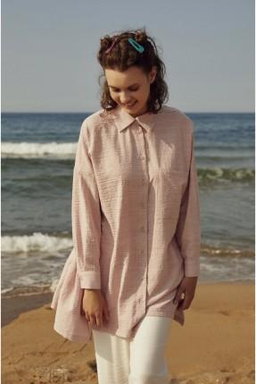 قميص نسائي مزين بجيب - زهري
